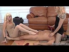 Mistresses Summer and Monica femdom torment of male slave