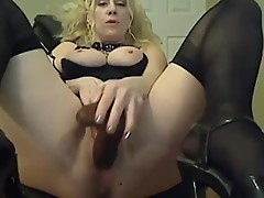 Canadian busty blond cuckold with garters and stockings
