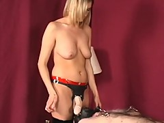 Mistress dominates, humiliates cuckold loser with strapon and creampie