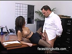 Horny office slut in stockings sucks like a pro!