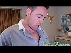Facial loving Kasey Miller blows cock behind cuckold stepmom