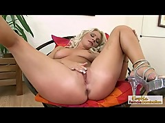 Hot Blonde Babe Fingers Her Pussy And Fucks With A Dildo