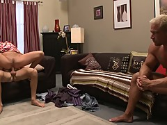 Big Tits Whore Fucked by Friend While Cuckold Husband Watches Take Facial