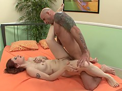 Curvey Bubble Butt Red Head Rides Huge Cock In Front Of Cuckold Boyfriend