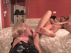 Goddess and her God feet worshiped and cleaned by man slave