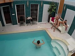 HUNT4K. Young cuckold let stranger nail slutty girlfriend by pool