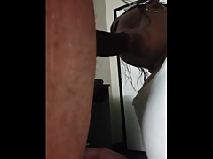Cuckhold Amy tries sucking his huge BBC
