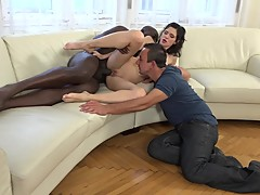 Cuckold wife gets anal from big black dick while her husband watches