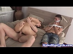 Roundass euro gf doggystyled in front of bf