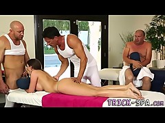 Busty massaged threeway babe