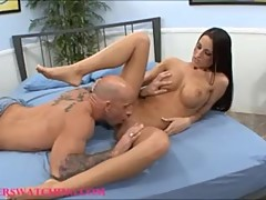 Big tit hot sexy black haired wife banged in front of husband