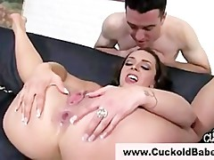 Nasty cuckold slut shows her gaping asshole