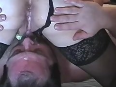 Cuckold position, hubby eats wife analy fucked by bull