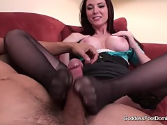 Jessica cuckold gives Footjob to husband friend