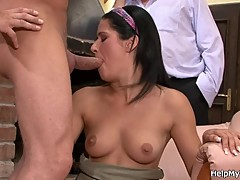 European brunette girl cuckolds old husband