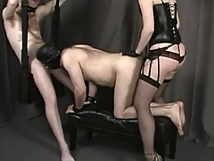 Cuckold slave eats cum, sucks cock and gets fucked by redheaded mistress