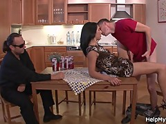 Sexy brunette cuckold husband with friend