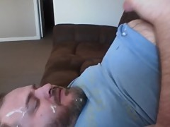 Pathetic cuck cum in his mouth