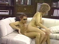 Cuckold can't get hard so she fucks his hard friend
