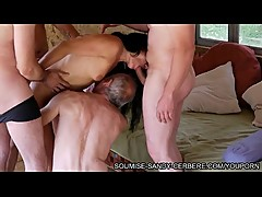 french wife libertine slut in threesome blowjob fist and hogtied